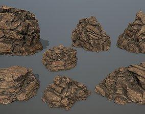 desert rocks snowy 3D asset game-ready
