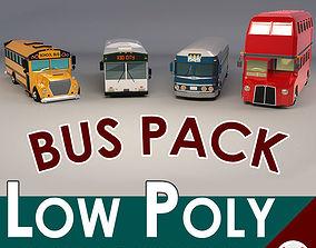 3D model Low Poly Bus Pack