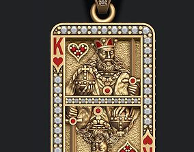 Heart king playing card pendant 3D print model