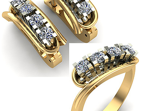 WOMAN SET RING AND EARRINGS 3D jewel
