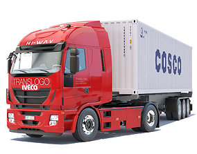 New IVECO Stralis Hi-Way with 40ft containers 3D