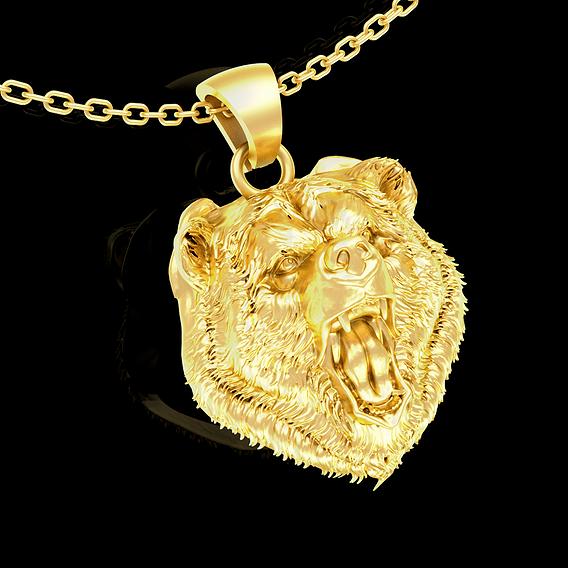 Wild Bear Head Sculpture Pendant jewelry Gold 3D print model