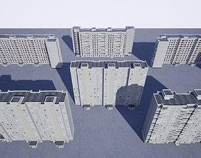 3D model Pack of 6 Russian Panel Apartment Buildings