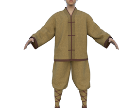 3D Monk with Clothes