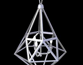 Ceiling hung triangulated metal light fixture 3D asset