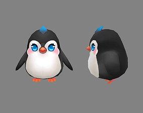 Cartoon baby penguin - female - lovely 3D model