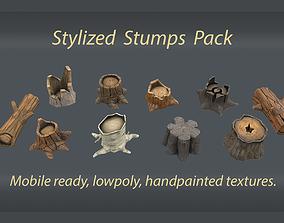 3D model Stylized stumps pack