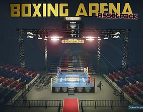 Low-Poly Boxing Arena 3D asset