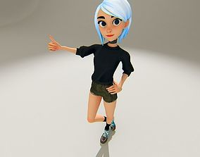 Stylized Girl 3D model rigged