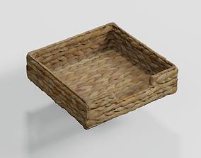 Wicker Rattan Napkin Basket photogrammetry scan 3D model 2