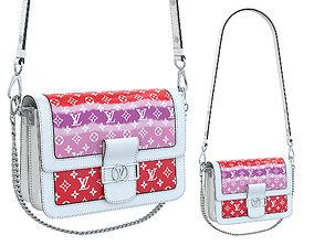 Louis Vuitton Dauphine Bag White Red 3D model