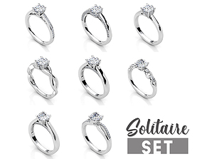3D printable model Solitaire ring set