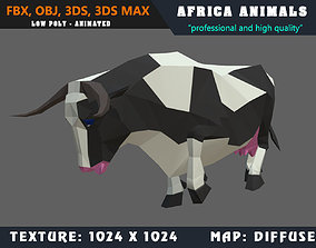 Low Poly Cow Cartoon 3D Model Animated - Game animated