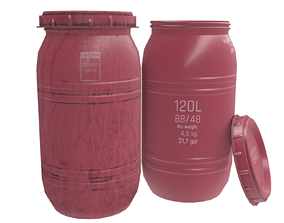 3D asset Game-ready Plastic Barrel - clean and dirty - red