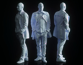 3D asset Man in Coat Posed Low Poly