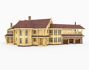 3D european Round Bar Timber House