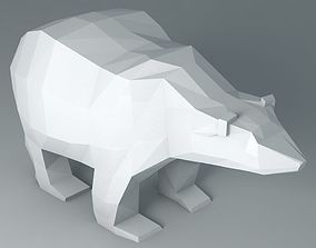 Polar Bear Cartoon Low Poly 3D model game-ready