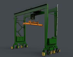 PBR Rubber Tyred Gantry Crane RTG V2 - Green 3D model