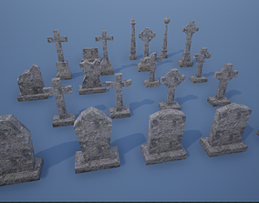 3D model Lowpoly Gravestone-Tomb Pack