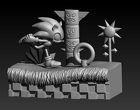 3D print model Diorama Sonic in Green Hill