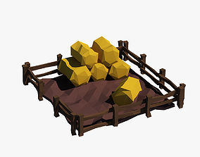 Cartoon haystacks 3D model