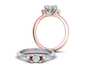 Own Design Heart Paradise Engagement ring 3D print model 2