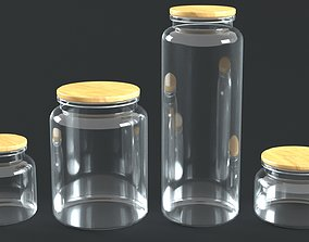 Glass Jars with Wooden Caps 3D asset