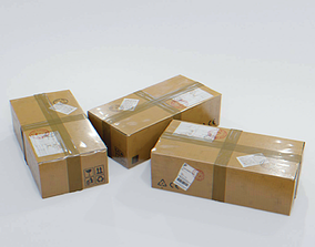 3D asset Wrapped Cardboard box