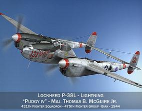 3D Lockheed P-38 Lightning - Pudgy IV