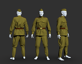 Military uniform of a soldier of the Soviet 3D