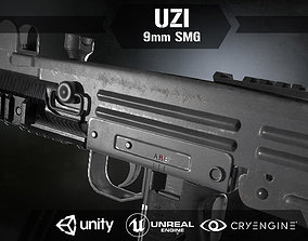 Uzi Sub Machine Gun 3D asset rigged