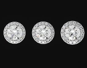 Brand set of single diamond earrings 3D printable model 3