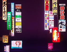 3D asset 14 Japanese Neon Signs