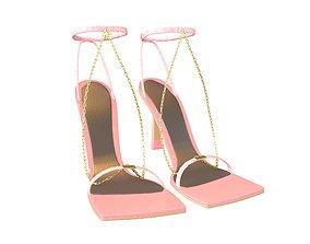 Square Toe Leather Sandals v2 006 3D asset