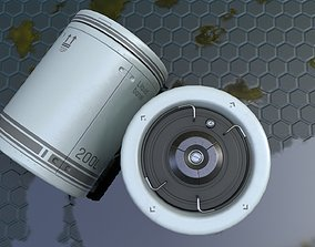 trashcan 3D asset Sci-Fi Barrel Low Poly PBR