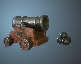 Stylized cannon 3D model low-poly