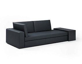 3D Black Modern Sectional Loveseat Couch
