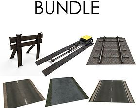 Seamless Roads and Railway Bundle 3D model