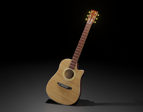 low-poly Stylized Acoustic Guitar 3D model