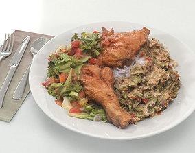 3D model Chicken Salad Rice - Scanned Food