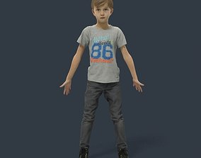 Animated Boy Kid Child - A-pose - Sime 3D model
