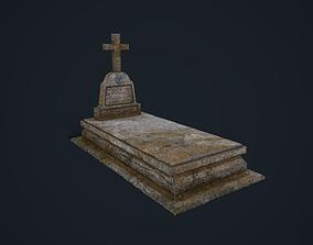 3D asset low-poly Gravestone 2