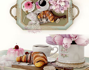 3D model Breakfast bed croissant bouquet tulips sweets