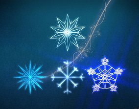 3D model Snow flakes collection