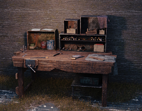 Old Workbench Game Ready 3D asset working