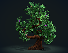 3D model game-ready Tree with flowers