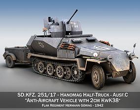 3D model SDKFZ 251 Ausf C - Hanomag Anti-aircraft 2