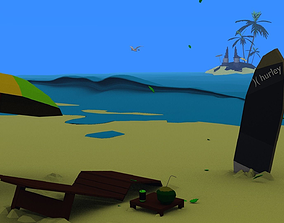 3d beach lowpoly and environtment