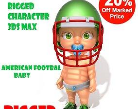 American football baby cartoon rigged 3D