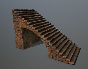 3D asset low-poly stairs rung